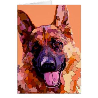 German Shepherd in Bright Colors Card