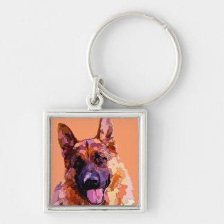 German Shepherd in Bright Colors Keychains