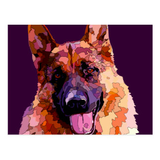 German Shepherd in Bright Colors Postcard
