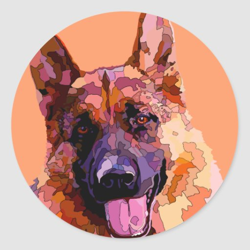 German Shepherd in Bright Colors Sticker