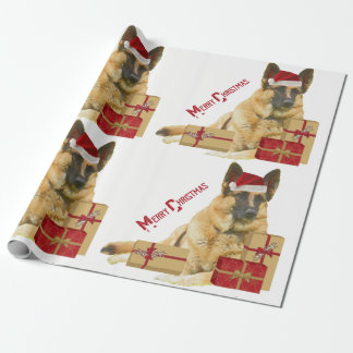 German Shepherd in Santa Hat Holiday Gift Paper