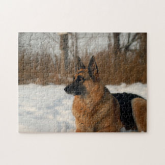 German Shepherd in the Snow Jigsaw Puzzle