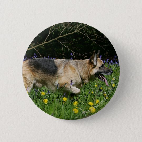 German Shepherd in Yellow Flowers 6 Cm Round