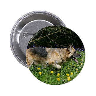German Shepherd in Yellow Flowers 6 Cm Round Badge