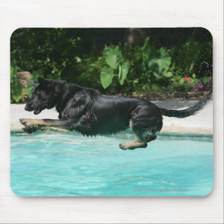 German Shepherd Jumping in Water Mouse Pad
