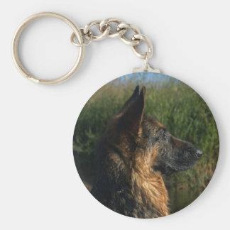 German Shepherd Keyring Basic Round Button Key Ring