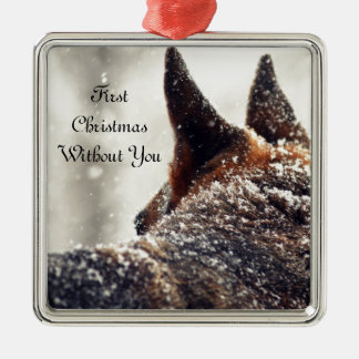 German Shepherd Lost Pet Memorial Silver-Colored Square Decoration