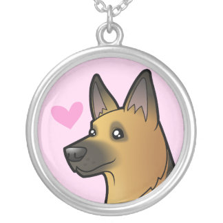 German Shepherd Love Silver Plated Necklace