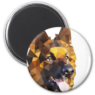 German Shepherd Low Poly Art 6 Cm Round Magnet