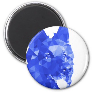 German Shepherd Low Poly Art in Blue 6 Cm Round Magnet