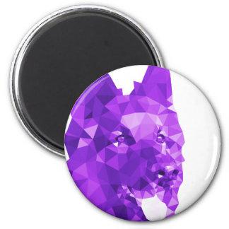 German Shepherd Low Poly Art in Purple 6 Cm Round Magnet