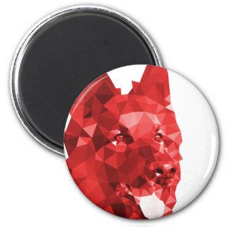 German Shepherd Low Poly Art in Red 6 Cm Round Magnet
