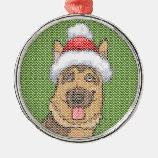German Shepherd Merry Christmas Knit Pattern Christmas Ornament