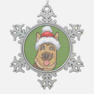 German Shepherd Merry Christmas Knit Pattern Snowflake Pewter Christmas Ornament