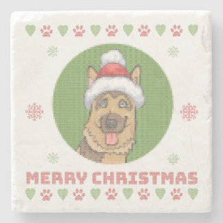 German Shepherd Merry Christmas Knit Pattern Stone Beverage Coaster