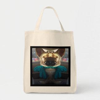 German Shepherd Mirrored Distortion Grocery Tote Bag