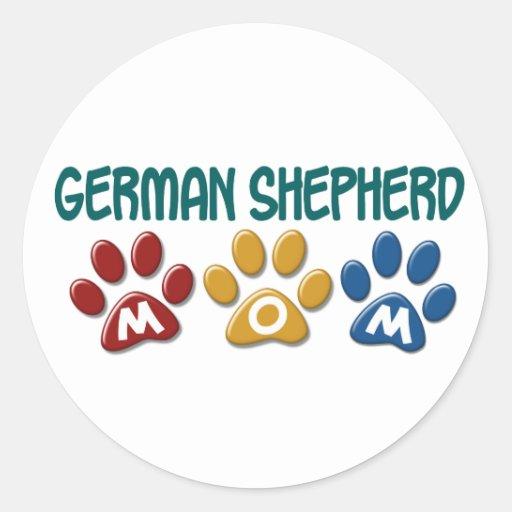 GERMAN SHEPHERD Mom Paw Print 1 Round Stickers