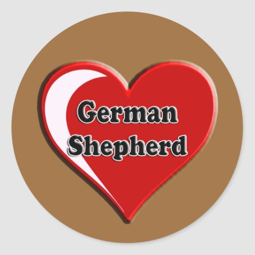 German Shepherd on Heart for dog lovers Round Sticker