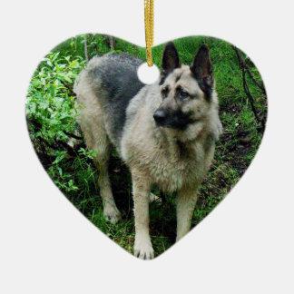 German Shepherd on the Shore Ceramic Heart Decoration