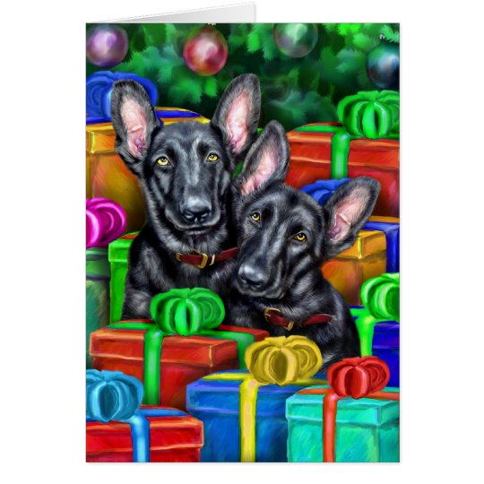German Shepherd Open Gifts Blk Christmas Card