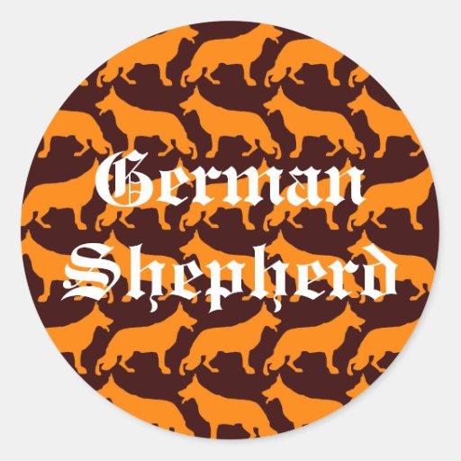 German  Shepherd Pattern Round Stickers