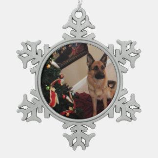 German Shepherd Pewter Snowflake Decoration