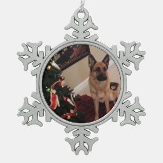 German Shepherd Pewter Snowflake Ornament