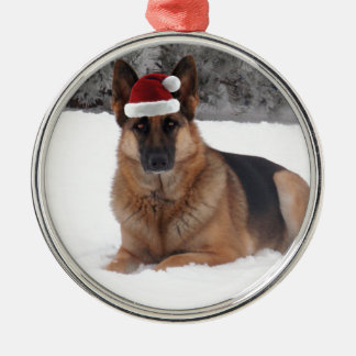 German Shepherd Photo Silver-Colored Round Decoration