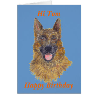 German Shepherd Portrait birthday, with name front Greeting Card