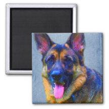 German Shepherd Portrait Magnets