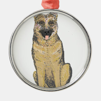 German Shepherd Products customize Silver-Colored Round Decoration