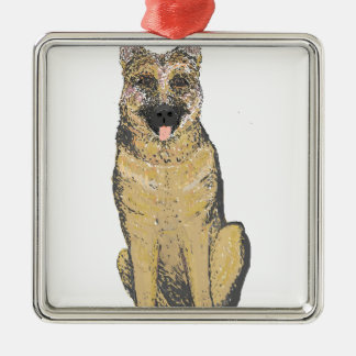 German Shepherd Products customize Silver-Colored Square Decoration