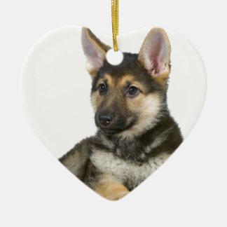 german shepherd pup puppy dog ceramic heart decoration
