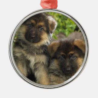 German Shepherd Puppies Christmas Ornament