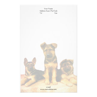 German Shepherd puppies letterhead Customized Stationery