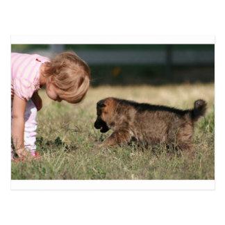 German Shepherd Puppy & Baby Grace Postcard