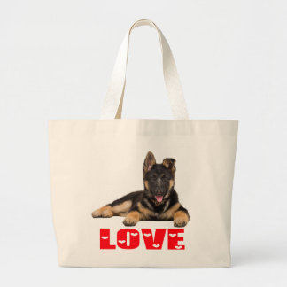 German Shepherd Puppy Dog Red Love Canine Large Tote Bag