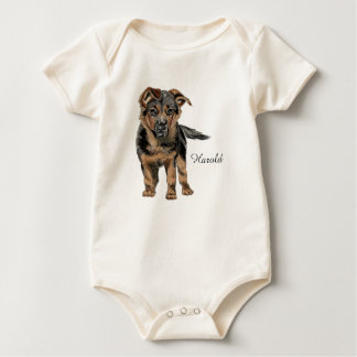 German Shepherd Puppy Drawing Baby Bodysuit