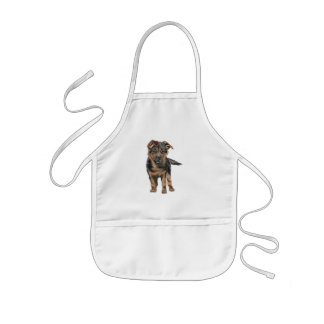 German Shepherd Puppy Drawing Kids Apron