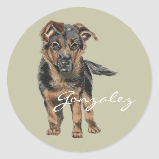 German Shepherd Puppy Drawing Round Sticker