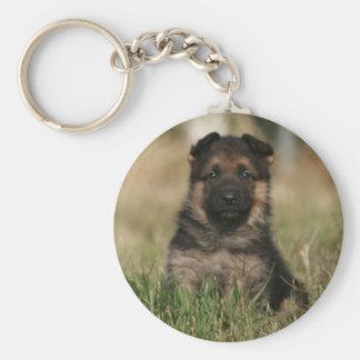 "German Shepherd Puppy ""Splash"" Basic Round Button Key Ring"
