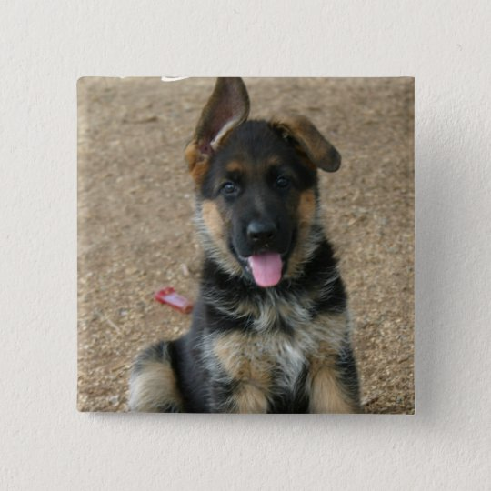 German Shepherd Puppy Square Pin