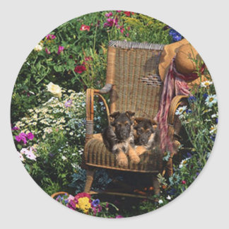 German Shepherd Pups Sticker Garden