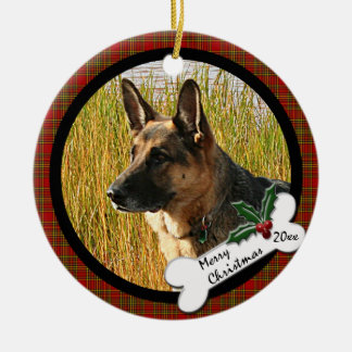 German Shepherd Round Christmas Ornament
