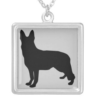 German Shepherd Silhouette Silver Plated Necklace