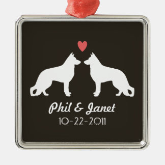 German Shepherd Silhouettes with Heart and Text Silver-Colored Square Decoration