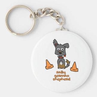 German Shepherd Sports Basic Round Button Key Ring