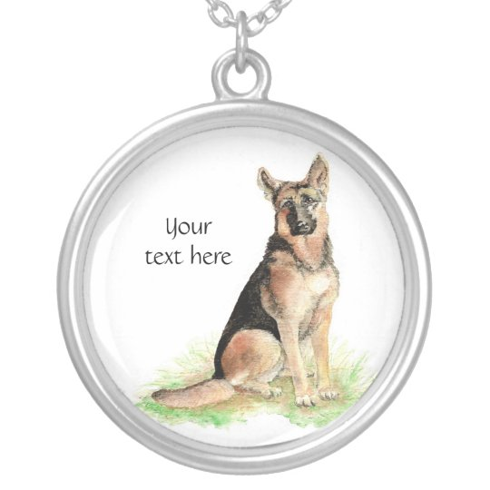German Shepherd to Customise, Personalise Silver Plated Necklace