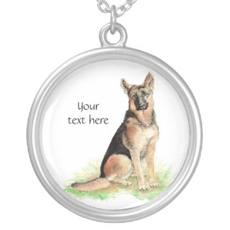 German Shepherd  to Customize, Personalize Round Pendant Necklace