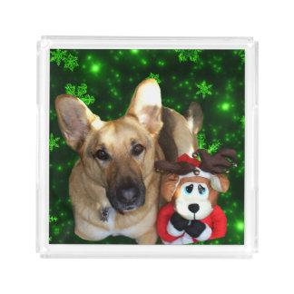 German Shepherd, Toy Reindeer, Green Snowflakes Acrylic Tray